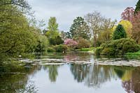 The lake at Millichope Park, an English landscape garden dating from 18th century.