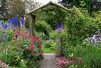 A cottage garden with path leading to rustic wooden arch, inbetween borders of phygelius, cosmos, penstemon, campanula, delphinium, foxglove, thalictrum, viola, valerian, lavender and astrantia.