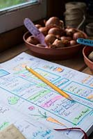 Potting bench showing garden planner with handwritten highlighted diagrams and notes for the growing season.