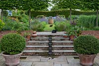 A contemporary, pumped water feature carries water down the steps to a small pebble pool. Above, pleached hornbeams frame views of perennial borders. Cats: Jack and Mumtaz