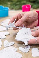 Decorative Clay Hearts. Gently remove the excess clay from around the cut out hearts