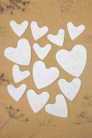 Decorative Clay Hearts. Clay hearts featuring impressions from seed heads