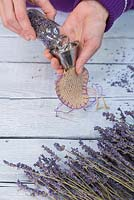 Lavender Hearts. Use a funnel to assist with filling the hessian heart with the dried Lavender flowers