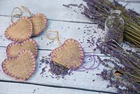 Lavender Hearts. Scented hessian heart satchels filled with dried Lavender flowers