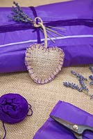 Lavender Hearts. Christmas presents with scented hessian Lavender heart satchels containing dried Lavender flowers