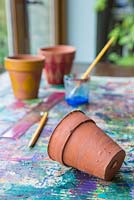 Tartan Painted pots. Materials required are a ruler, pencil, terracotta pots, paint brush and paint
