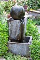 Modern concrete water feature.Debora Carl's garden, Encinitas, California, USA. August.