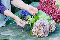 Making dried hydrangea bouquets