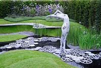 The Imperial Garden - Revive. Arching bronze figure water feature. RHS Chelsea Flower Show 2016. Designer: Tatyana Goltsova, Sponsor: Imperial Garden