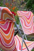 Refurbished deck chairs featuring a funky design