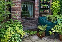A metal bench surrounded by containers planted with Hosta, Primula auricula and ferns.