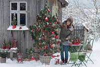 Pinus pine as a living Christmas tree with cones and red Christmas tree balls in the snow at the garden house, table, chair, lanterns and wind lights, woman with settee at the table