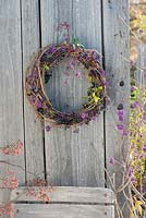 Wreath made from Parthenocissus, Callicarpa and Ligustrum