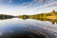 The lake and Capability Brown landscape, photographed in July just after dawn, at Trentham Gardens, Staffordshire