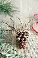 Ingredients needed to make a pine cone reindeer