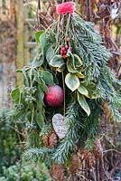 Frosty hanging bouquet of christmas foliage with bauble and heart in garden