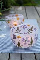 Making paper lanterns - Finished paper lantern with tealights