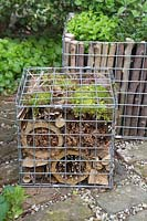 Insect hotel within a gabion container
