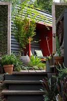 Timber steps leading up to a red painted sitting pod mounted on a black painted timber wall. Freestanding timber green screens, planted with Muehlenbeckia complexa. A large pot with an Acer palmatum, Japanese Maple.