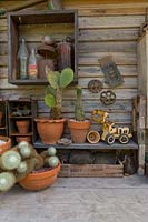 Rustic timber wall and shelf with a collection of potted cactus, a toy excavator and old farm ephemera.