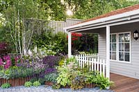 Flowerbed in front of wooden house with white fence and spring planting including: Primula pulverulenta, Betula pendula Jaquemontii, Syringa meyeri 'Palibin', Delphinium pacific hybrids 'Galahad', Lavandula stoechas 'Devonshire compact', Lavender stoechas 'Lusi Pink', Lavandula stoechas 'Regal Splendour', Lavandula stoechas 'Lusi Purple', Sedum 'Thundercloud', Hosta 'Shade Fanfare' and ferns. Crane Garden Buildings stand. Designer: Peter Mortin