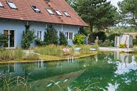 The swimming pond with a shallow water zone adjoins the main house. To the right, a shower cabin, Prunus lusitanica, Hydrangea petiolaris and Pinus sylvestris