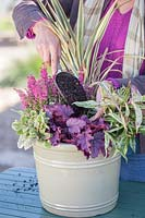 Detail of woman adding compost to fill in between plants in Winter interest container