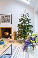 Colour themed Christmas tree in living room