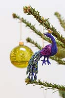 Close up detail of Peacock colour themed christmas tree