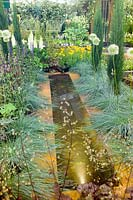 Rill with planting Hosta Vista Design by Binny Plants Landmarkers Andrea Geile Gold Medal Gardening Scotland 2007