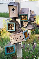 'Future Nature', Chelsea Flower Show 2009. Design Adrian Hallam, Chris Arrowsmith, Nigel Dunnet. Bird houses and insect hotels