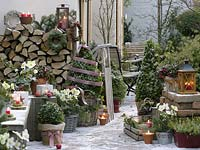 Rustic Christmas terrace with Brennholzstapel