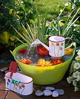 Small water feature with mini watering can and plastic tub
