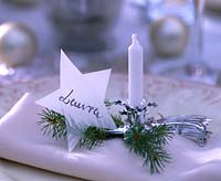 Candlestick with Picea - Spruce branch when Napkin, star with name