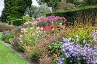 Late summer herbaceous border including blue flowering Aster, at Newby Hall and Gardens, Yorkshire.