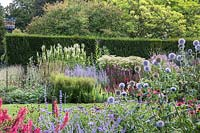 View of double Herbaceous border at Newby Hall and Gardens, Yorkshire.