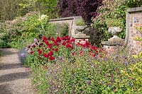 A view of a flowering late summer border at Newby Hall and Gardens, Yorkshire.