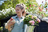 Woman holding a chicken and a hydrangea in a pot