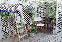 Trellis screening is a backdrop for pots and accessories on decked area.