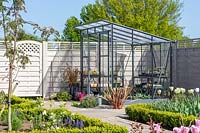 View of greenhouse in modern garden.