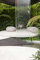 VTB Capital Garden - Spirit of Cornwall - Water feature with stone slabs and cushions - Sponsor: VTB Capital - RHS Chelsea Flower Show, 2018