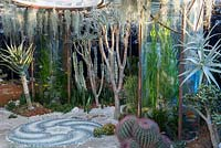 Looking into the Pearlfisher Garden - Underwater garden surrounded by succulents and cacti including, Crassula ovata, Tillandsia usneoides - Sponsors: Pearlfisher, Nigel Colclought and Jason de Caires Taylor - RHS Chelsea Flower Show 2018