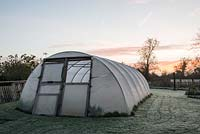 Sunrise behind the polytunnel at Homeacres