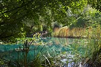 Blue lake with Lotus. HUALU Hermitage on the Loire. Pres du Goualoup.  Festival des Jardins 2018, Chaumont sur Loire, France