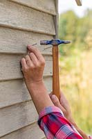 Person hammering nail into shed for hanging bottles