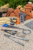 Tools and equipment for making a large gabion insect hotel