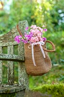 Brown raffia bag with Rosa 'The Fairy' and sweet peas hung on garden bench