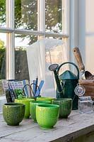 Tools for growing microgreen pots on windowsill