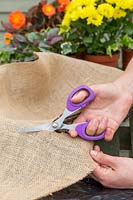 Cutting hessian for lining a wire basket with scissors