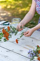 Woman pulling side branches of cut Achillea flowers prior to trying bouquet